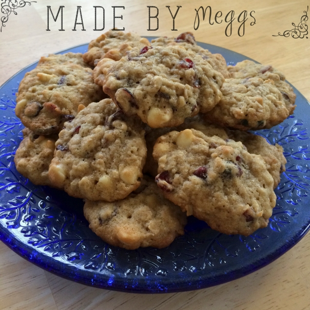 Oatmeal Cranberry White Chocolate Cookies More at MadeByMeggsDOTcom