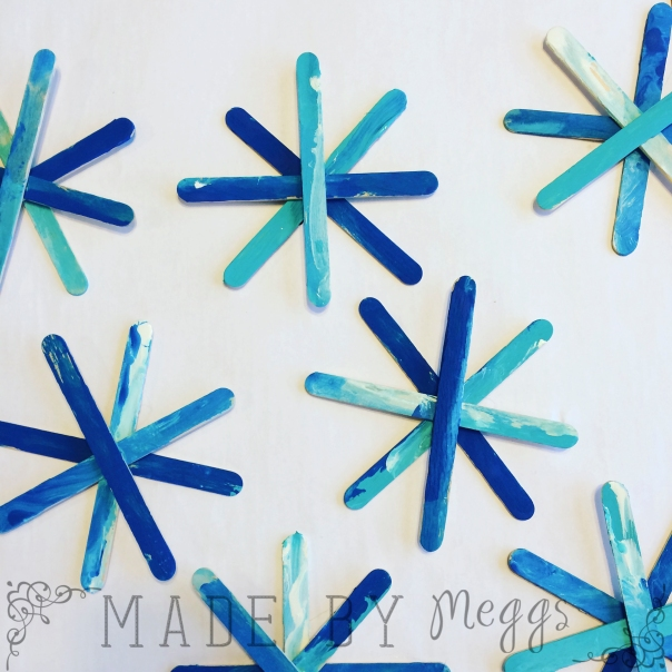 Snowflake Popsicle Stick Craft - More at MadeByMeggsDOTcom 4